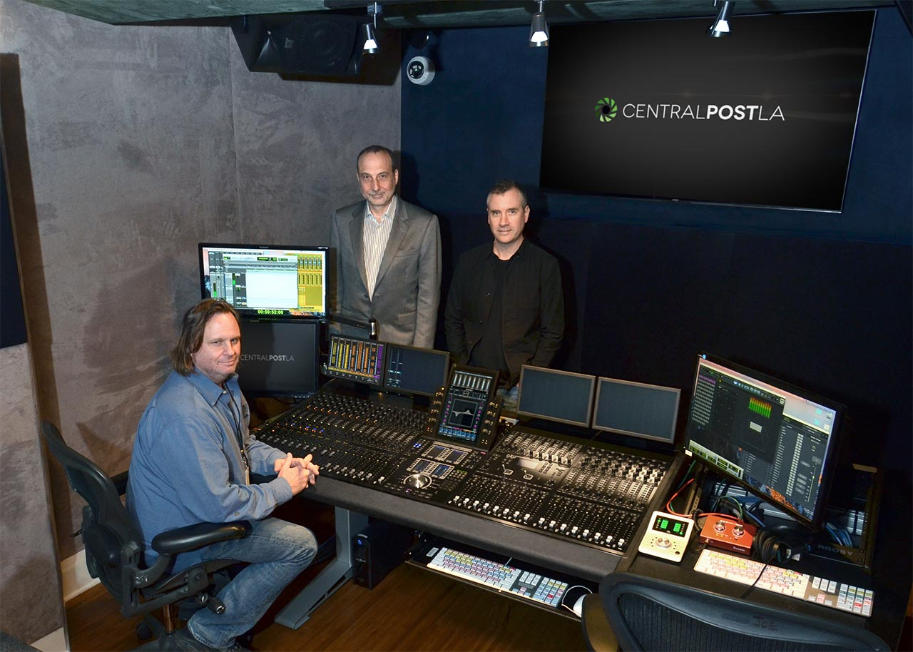 Pictured (L-R) are VP of Operations/ Re-recording Mixer Reid Caulfield, AID President Jim Pace, and Managing Partner Chris Davies.